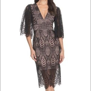 Black lace midi dress the population